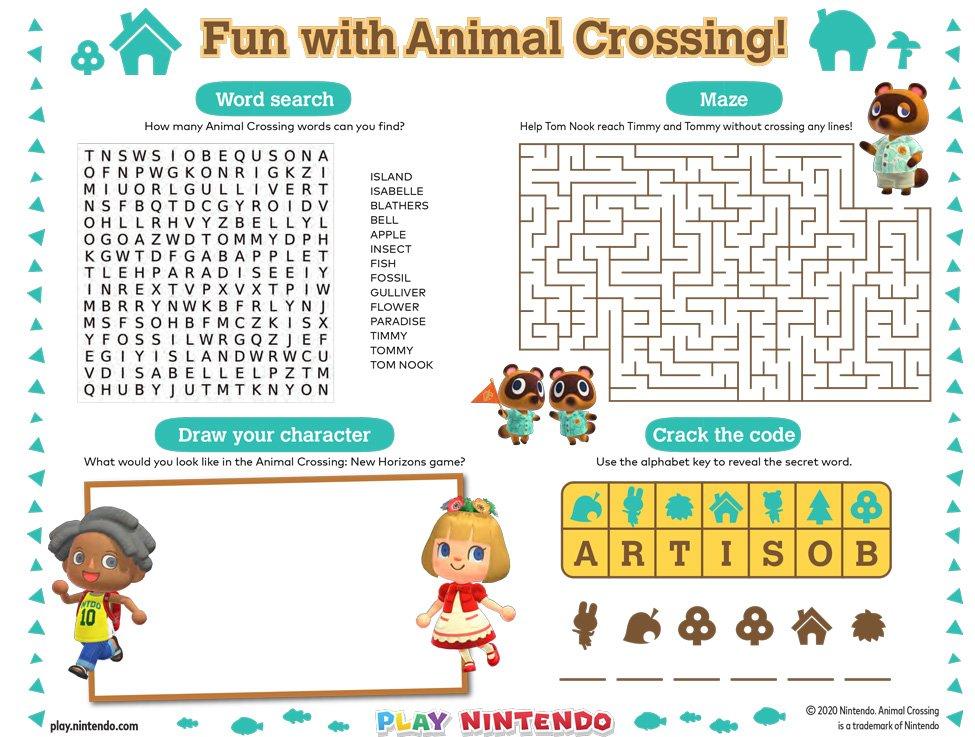 Animal Crossing: New Horizons Printable Activity Sheet - Play Nintendo.