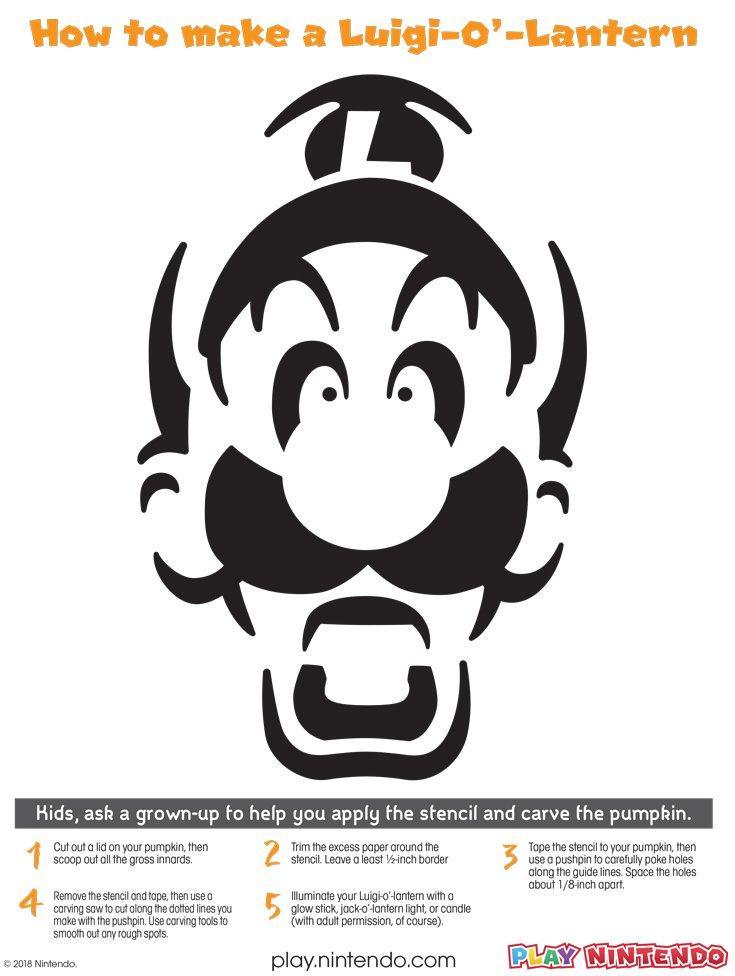 Luigi Jack O Lantern Face Printable Play Nintendo