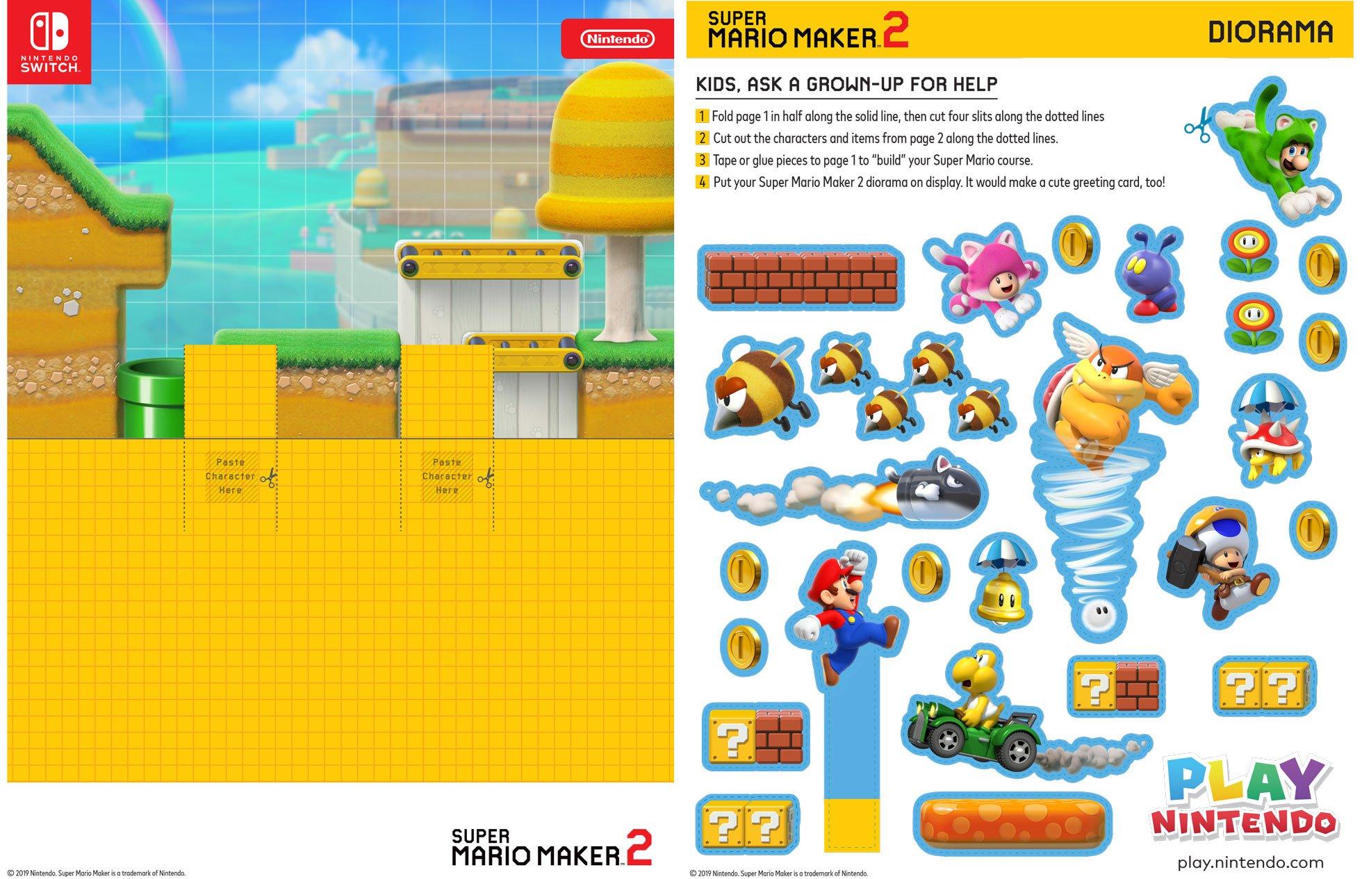 Super Mario Maker 2 Printable Diorama Play Nintendo