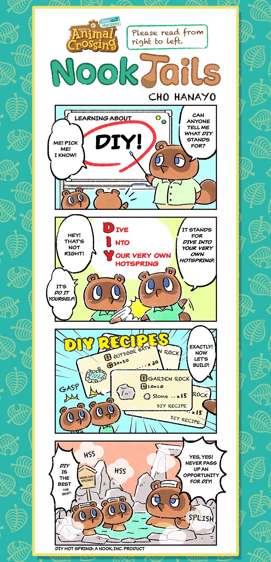 "Image alt text	Nook Tails, an Animal Crossing: New Horizons comic strip. In the first panel, Tom Nook stands in front of a board that says ""Learning about D I Y!"" Tom Nook says ""Can anyone tell me what D I Y stands for?"" Tommy says ""Me! Pick me! I know!"""