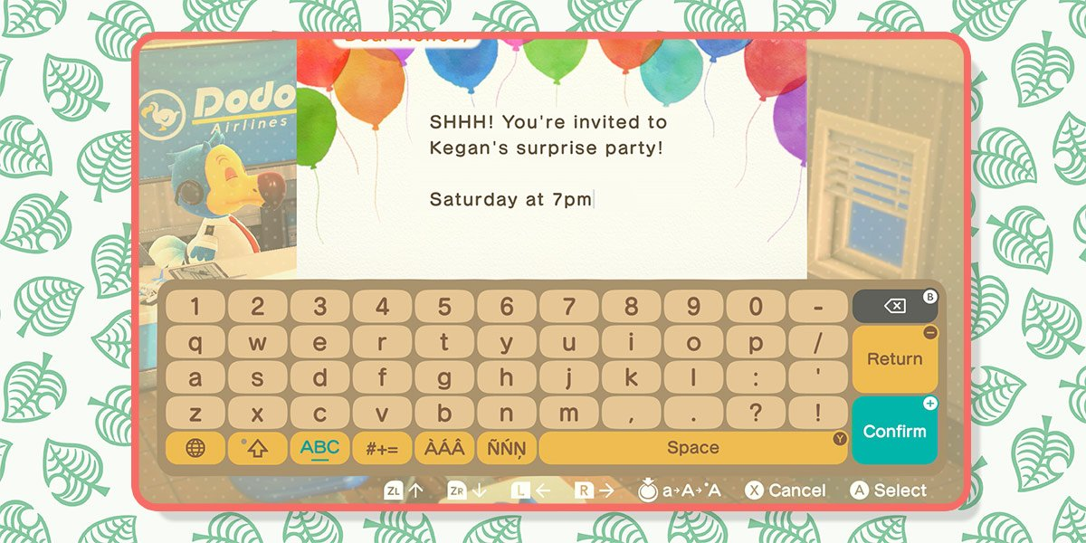 """In-game mail is used to send an invitation which says """"Shhh! You're invited to Kegan's surprise party! Saturday at 7 pm."""""""
