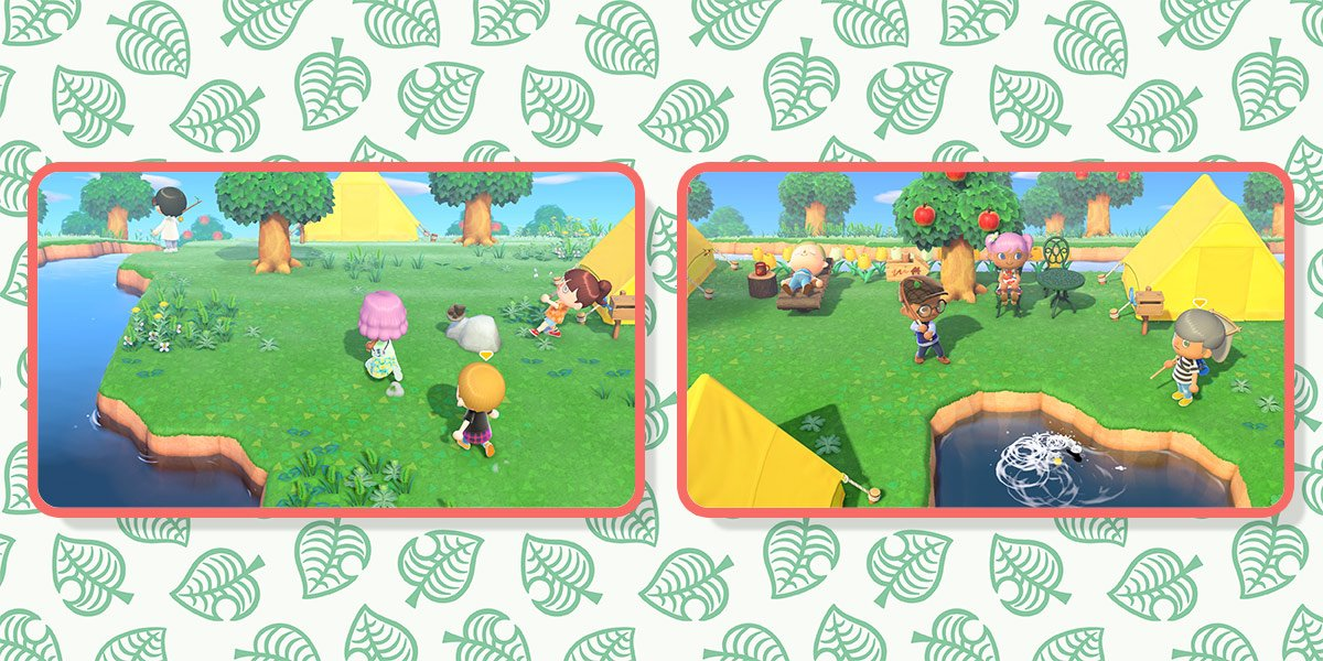 One player chases after another in a game of tag, and a group of friends watch as one player tries to reel in a fish.