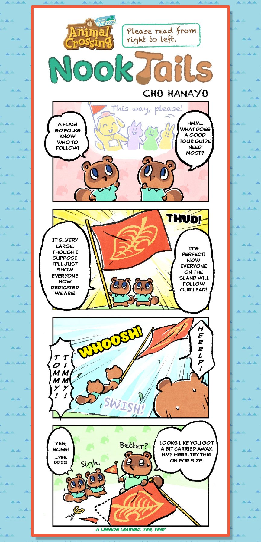 """Nook Tails, an Animal Crossing: New Horizons comic strip. In the first panel, Timmy and Tommy are talking. One says: """"Hmm…what does a good tour guide need most?"""" The other responds: """"A flag! So folks know who to follow!"""" In the second panel, there is a bi"""