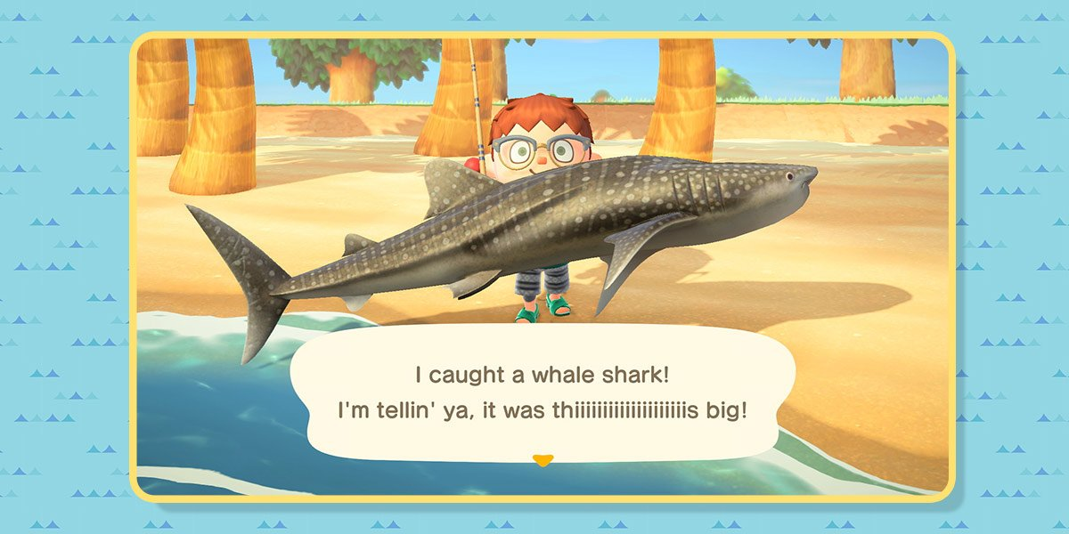"Player on the beach holds a whale shark and says ""I caught a whale shark. I'm tellin' ya, it was thiiiiiiis big!"""