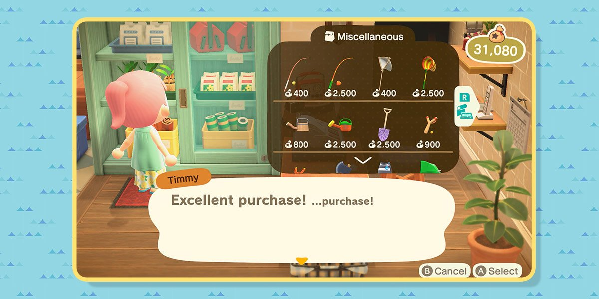 The player buys a fishing pole at the Nook's Cranny store. There are other tools for sale in the cabinet: net, watering can, shovel, slingshot, and more.