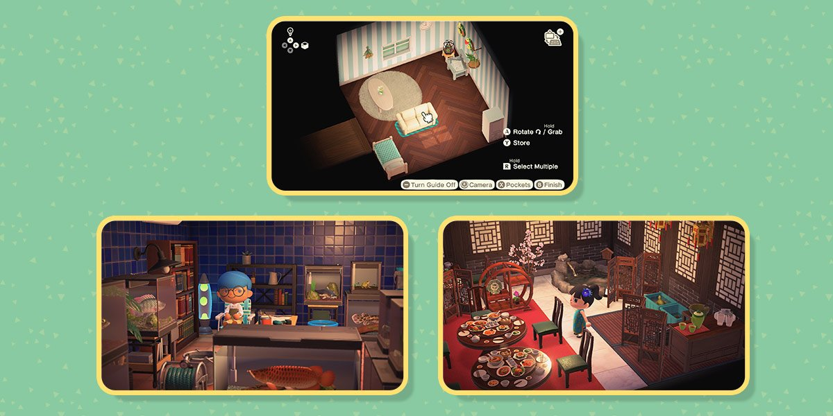 First image of three: The house-decorating layout guide with buttons to rotate, grab, and store items.  Second image: Player sits in a room crowded with kitchen equipment and fish. Third image: Player stands in room decorated as a restaurant with imperial