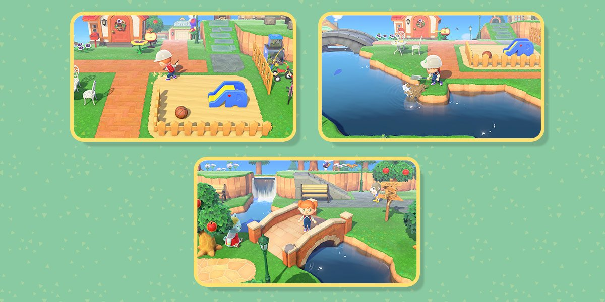 First image of three: Player builds a fence around a playground area with a slide and ball. Second image: Player uses Island Design app to change shape and size of river. Third image: Player stands on a bridge over a river.