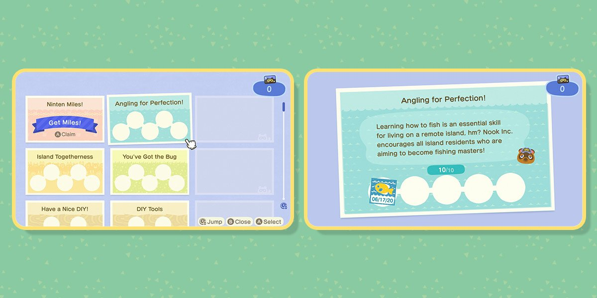 First image of two: Nook Miles app from the in-game NookPhone with options like Ninten Miles; Angling for perfection; You've got the bug, and more. Second image: Details on Angling for Perfection: Learning how to fish is an essential skill for living on a