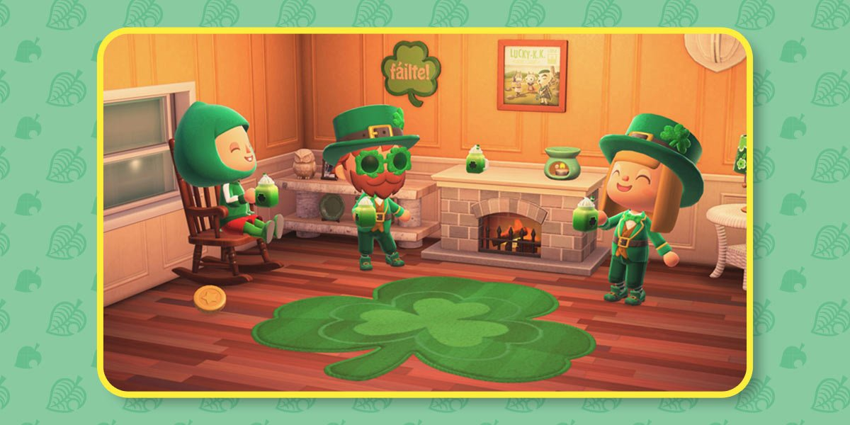 Three players dressed in green celebrate Shamrock Day with shamrock sodas in a room decorated with a shamrock rug and a shamrock doorplate.