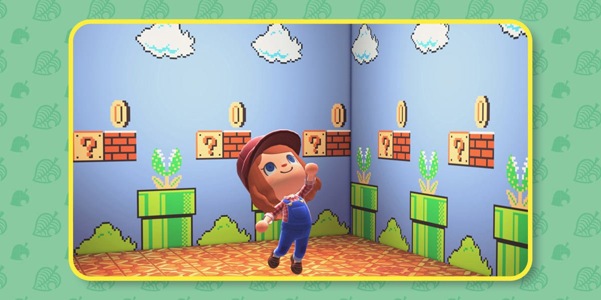 Player dressed as Mario in a room decorated with the mushroom mural, a wall covering in the Super Mario Bros. game style with blue background, white clouds, green bushes, piranha pipes, bricks and question blocks with gold coins.