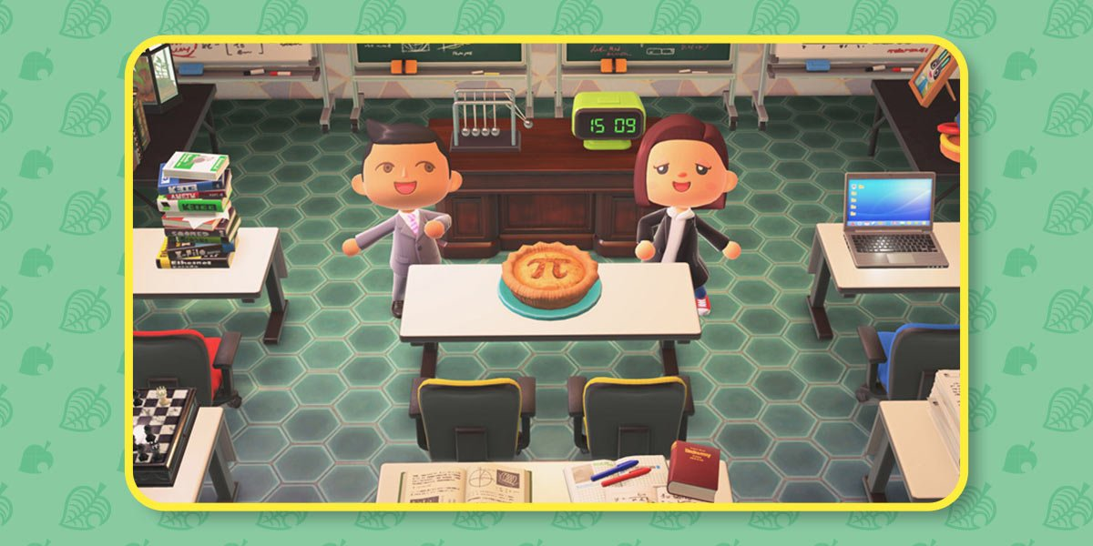 """Two players in a school show off their """"Pi Pie"""", a baked pie with the Pi sign on top."""