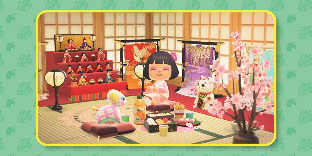 Player smiles in a room decorated with hinaningyo dolls, blossom lanterns, kimono stands, and orchids to celebrate Hinamatsuri.