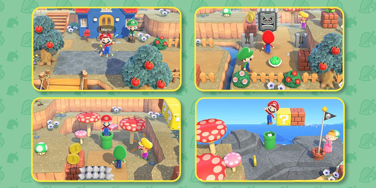 Compilation of screenshots from game. Players dressed in Mario, Luigi, Wario, and Princess Peach outfits around an island decorated with warp pipes, mushrooms, gold coins, Thwomps, and Koopa shells.