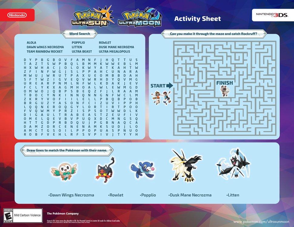 Free Printable Pokémon Activity For Kids - Play Nintendo.