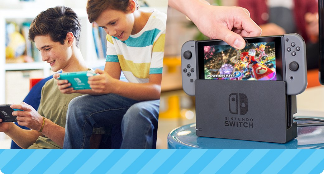 Picture of two boys playing Nintendo Switch Lite, split with a picture of a hand grasping a Nintendo Switch.